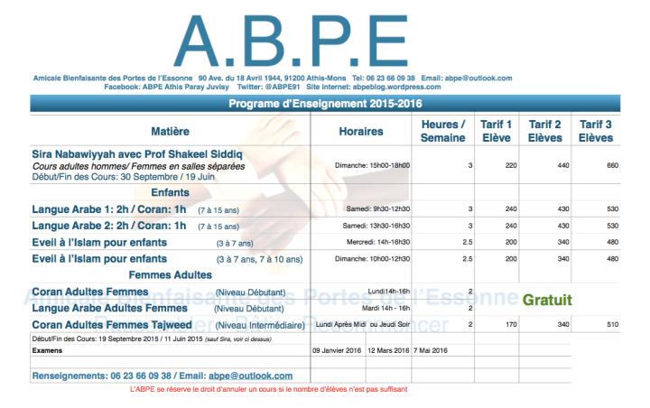 Programme ABPE 2015-2016